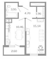 Однокомнатные квартиры в «Девятый вал»