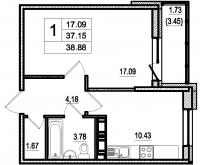 Однокомнатные квартиры в «Дом в Романовке»