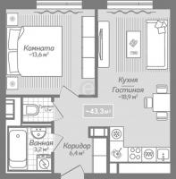 Однокомнатные квартиры в «Коллонтай,2»