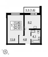 Однокомнатные квартиры в «Новая Охта»