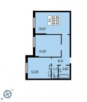 Двухкомнатные квартиры в «Паруса»