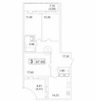 Трехкомнатные квартиры в «Пулковский-3»