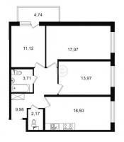 Трехкомнатные квартиры в «Трилогия»